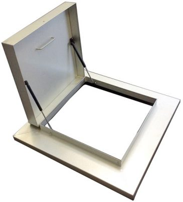 Hinged all metal access hatch with metal deck foof flashing